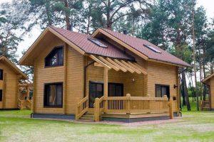 Una casa prefabbricata in legno.